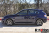 Gary Glanger's 2011 Subaru STI : Gary tested Vorshlag's first production GR Subaru front camber plates with the unique Vorshlag CNC upper spring perches, using his OEM struts and OEM springs. We changed the negative camber from -1.7° max in front to a more track-friendly -2.5° camber (with more camber travel possible). Ride height was unaffected with the camber plates + new perches, as shown below.